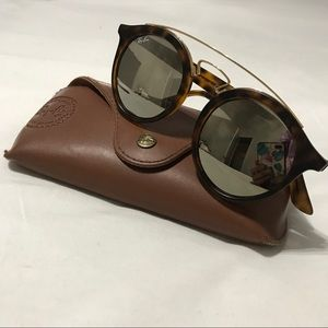 RAY-BAN round brown frame, gold mirror sunglasses